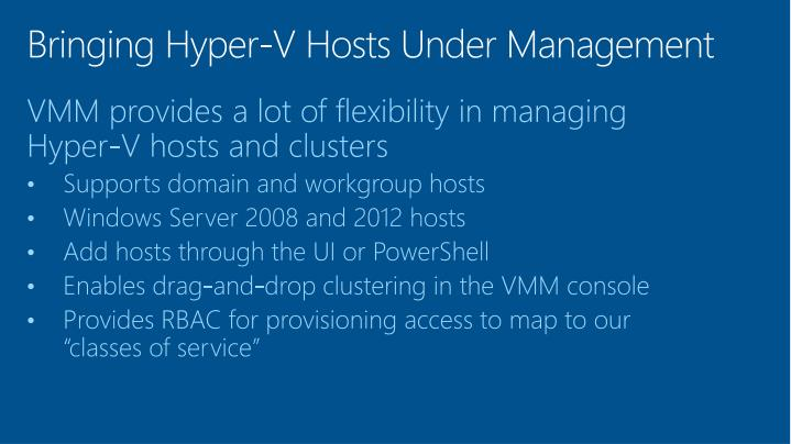 Bringing Hyper-V Hosts Under Management
