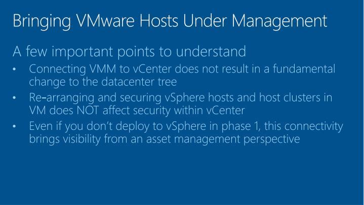 Bringing VMware Hosts Under Management