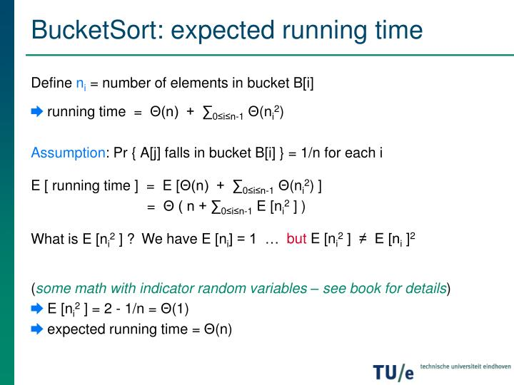 BucketSort: expected running time