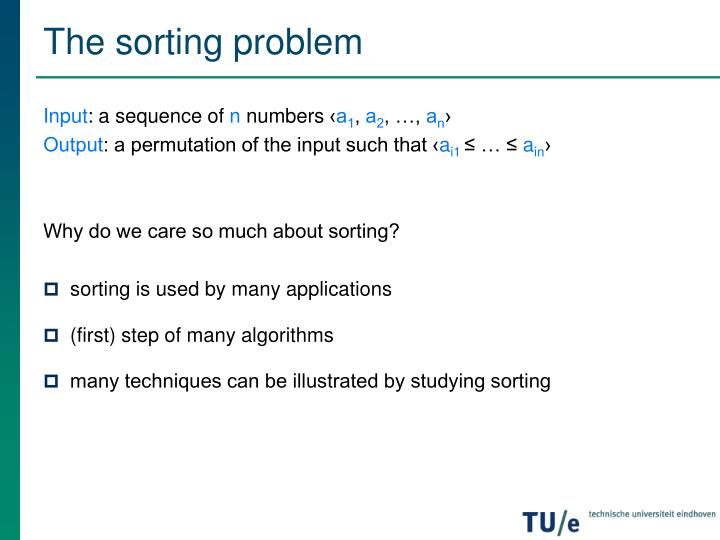The sorting problem