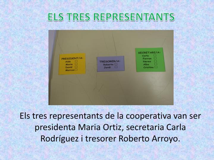 Els tres representants de la cooperativa van ser presidenta Maria Ortiz, secretaria Carla Rodríguez i tresorer Roberto