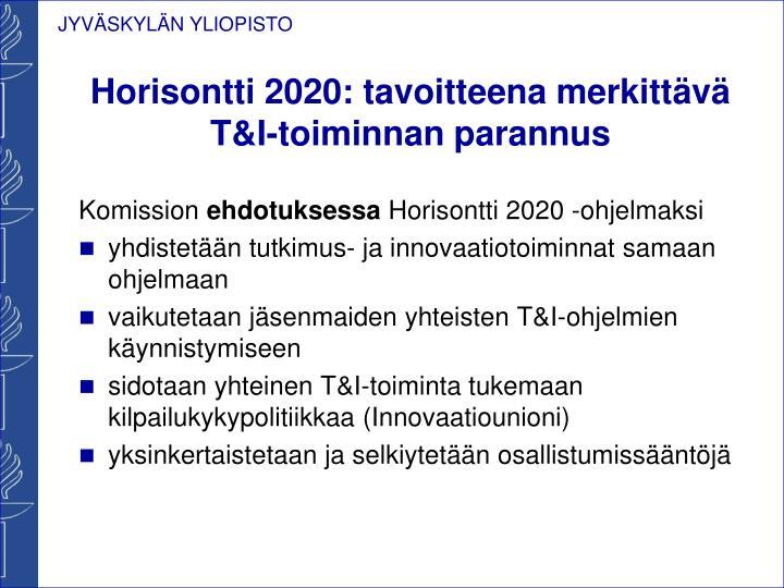 Horisontti 2020: tavoitteena merkittävä