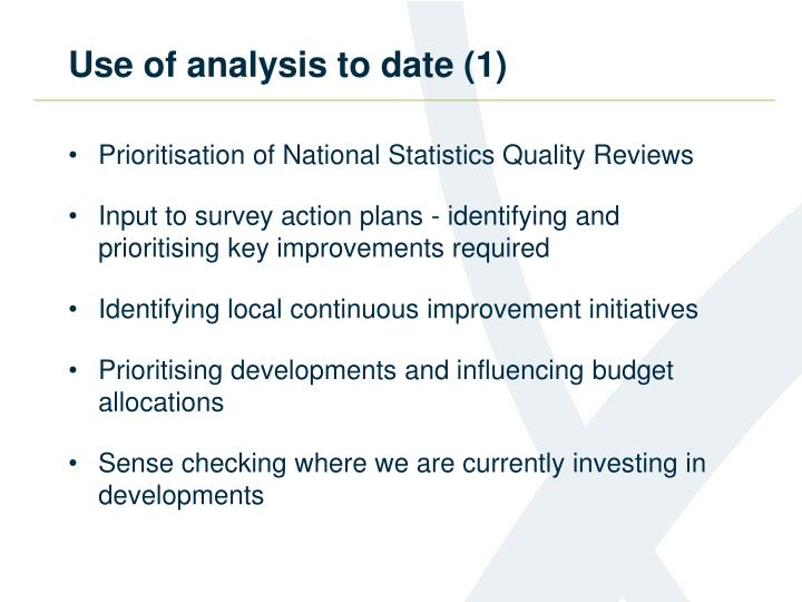 Use of analysis to date (1)