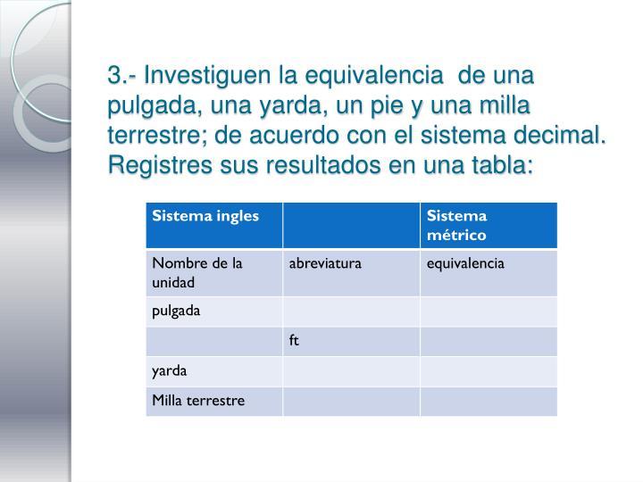 3.- Investiguen la equivalencia  de una pulgada, una yarda, un pie y una milla terrestre; de acuerdo con el sistema decimal. Registres sus resultados en una tabla:
