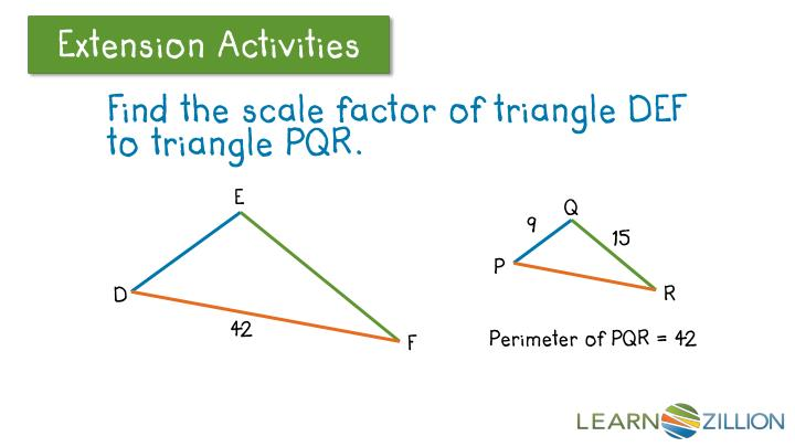 Find the scale factor of triangle DEF to triangle PQR.