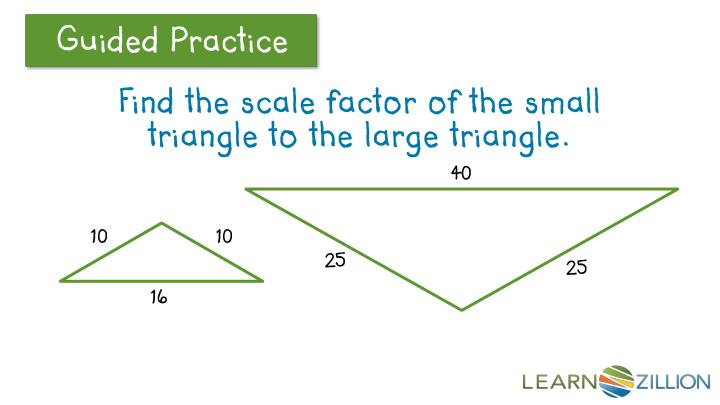 Find the scale factor of the small triangle to the large triangle.