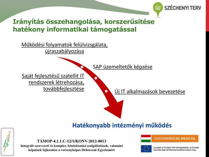 Irányítás összehangolása, korszerűsítése hatékony informatikai támogatással