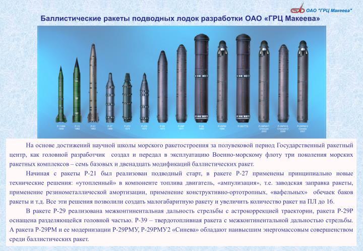 Баллистические ракеты подводных лодок разработки ОАО «ГРЦ Макеева»