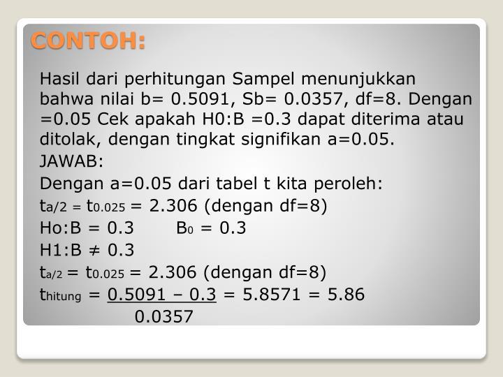 Hasil dari perhitungan Sampel menunjukkan bahwa nilai b= 0.5091, Sb= 0.0357, df=8. Dengan =0.05 Cek apakah H0:B =0.3 dapat diterima atau ditolak, dengan tingkat signifikan a=0.05.