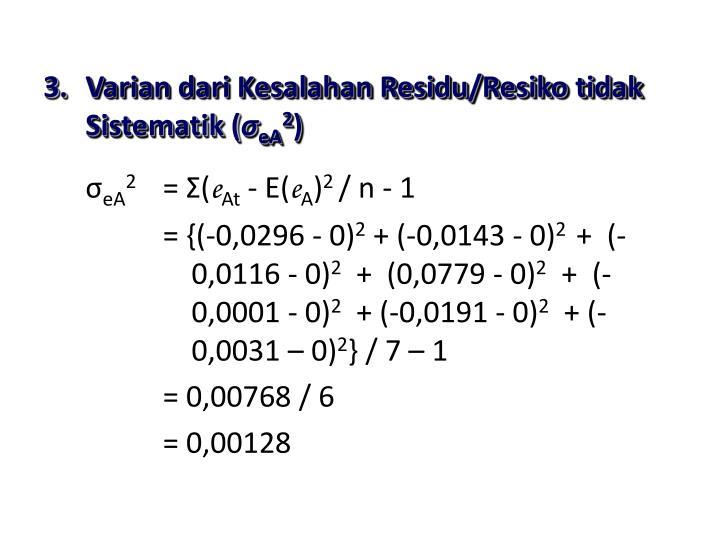 Varian dari Kesalahan Residu/Resiko tidak Sistematik (