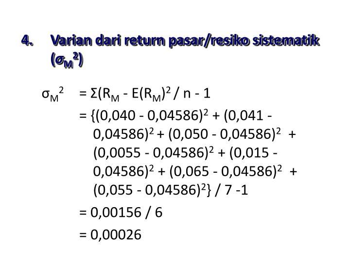 Varian dari return pasar/resiko sistematik (