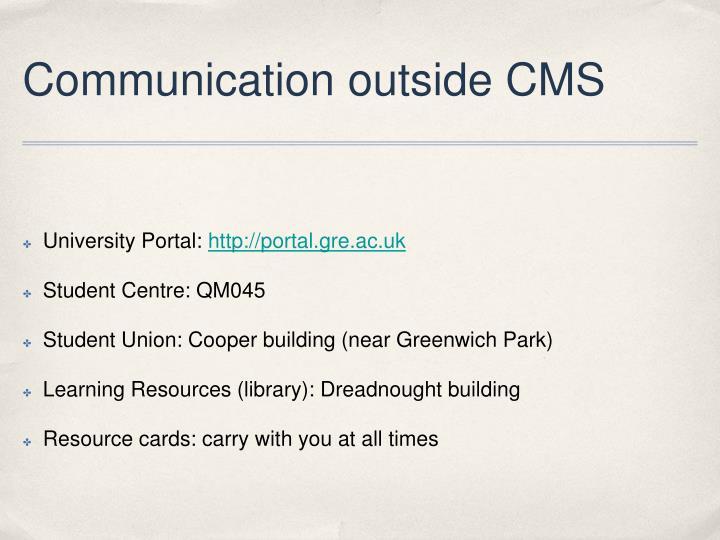 Communication outside CMS