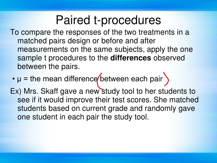 Paired t-procedures