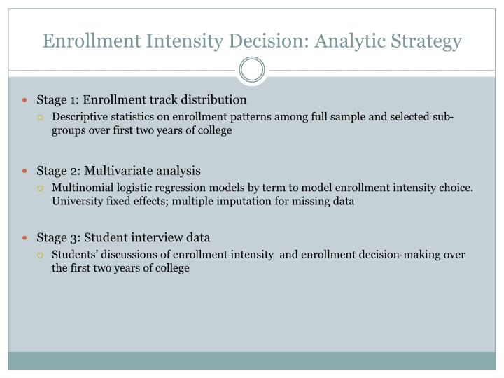 Enrollment Intensity Decision: Analytic Strategy