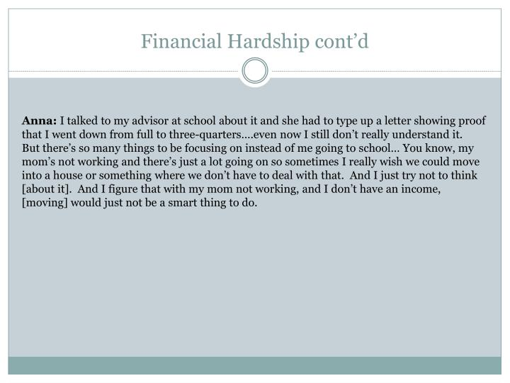 Financial Hardship cont'd