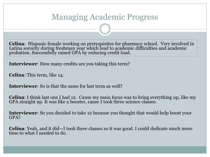 Managing Academic Progress
