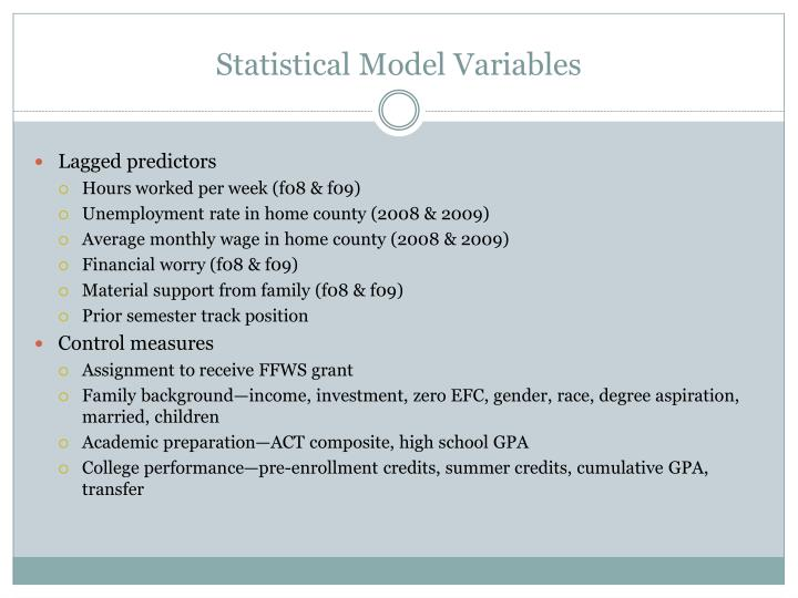 Statistical Model Variables