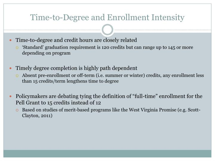 Time to degree and enrollment intensity