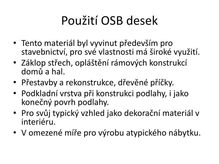 Použití OSB desek