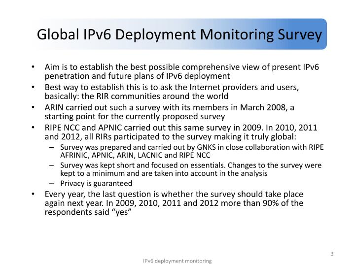 Global IPv6 Deployment Monitoring Survey