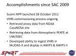 accomplishments since sac 2009