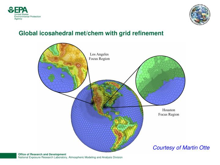 Global icosahedral met/chem with grid refinement