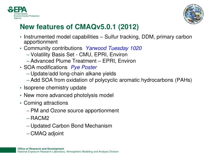 New features of CMAQv5.0.1 (2012)