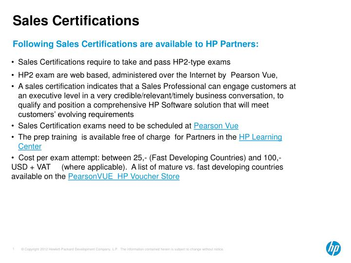 Sales certifications