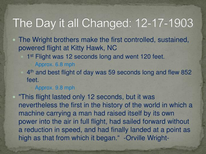 The Day it all Changed: 12-17-1903