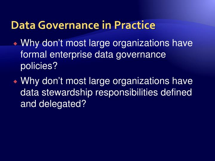 Data Governance in Practice