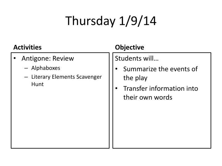 Thursday 1/9/14