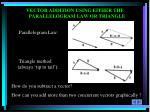vector addition using either the parallelogram law or triangle