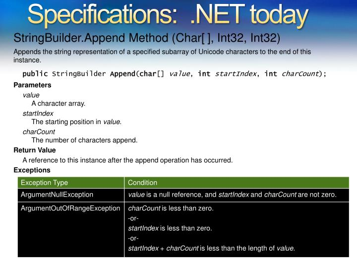 Specifications:  .NET