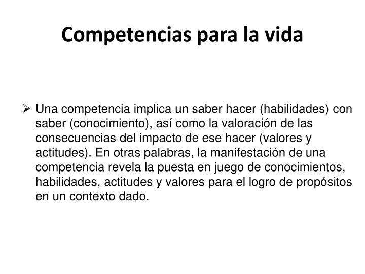 Competencias para la vida