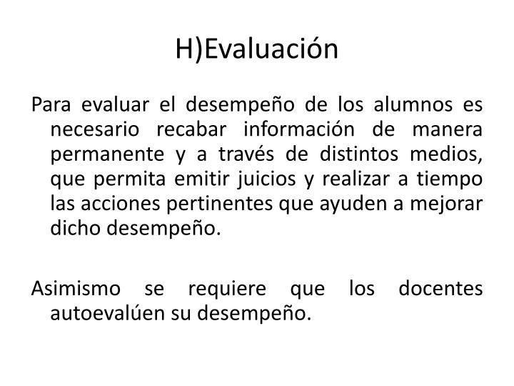 H)Evaluación