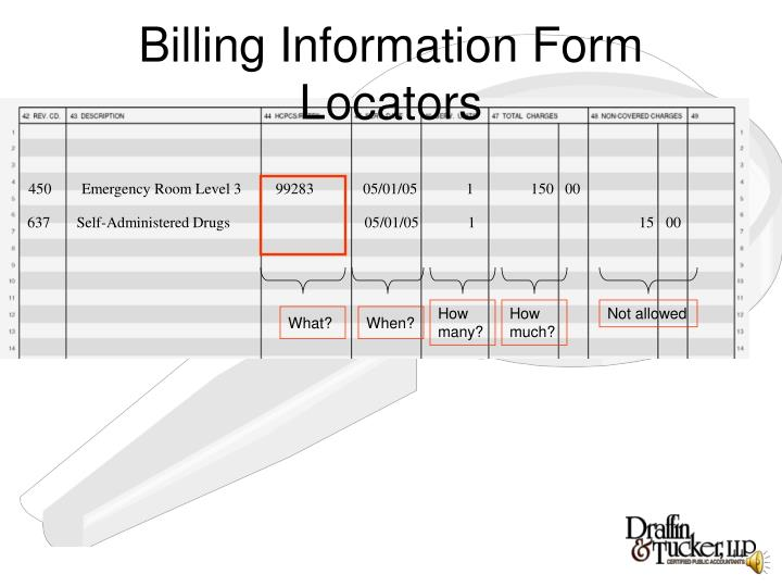 Billing Information Form Locators