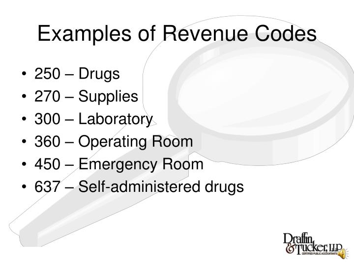 Examples of Revenue Codes