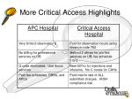 more critical access highlights