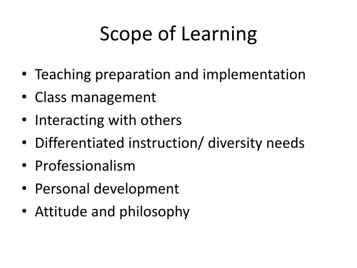 Scope of learning