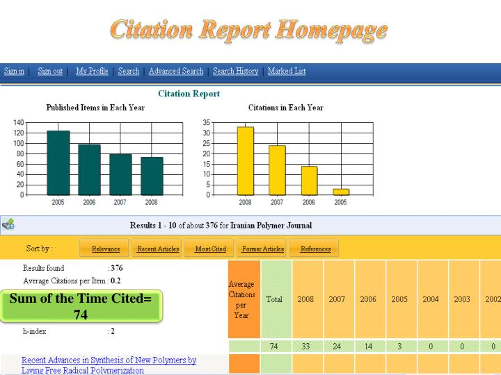 Citation Report Homepage