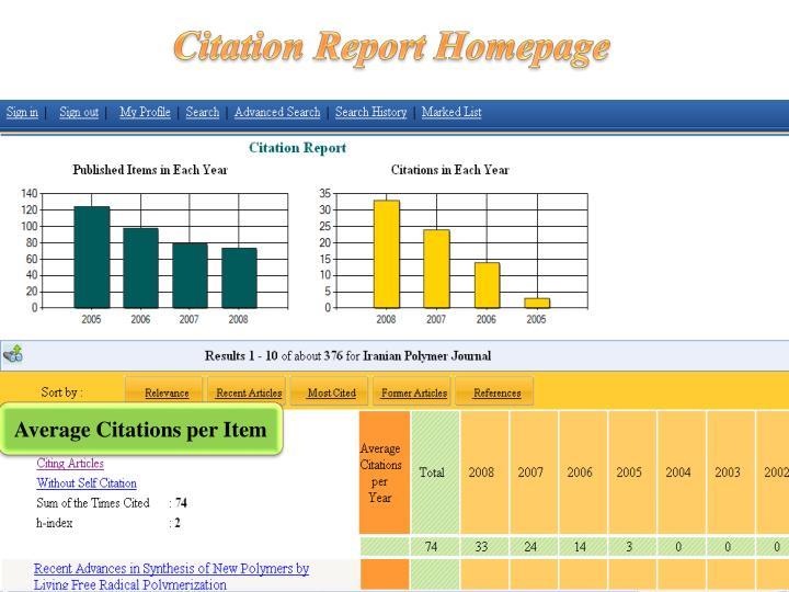 Citation Report Homepage