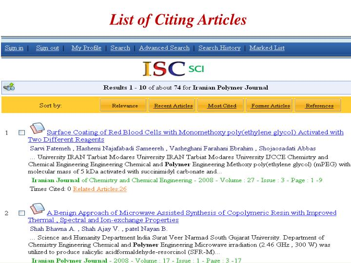 List of Citing Articles
