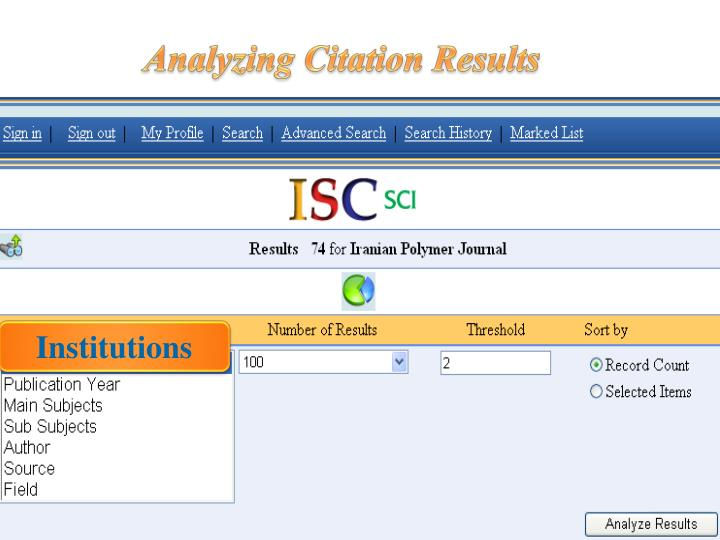 Analyzing Citation Results
