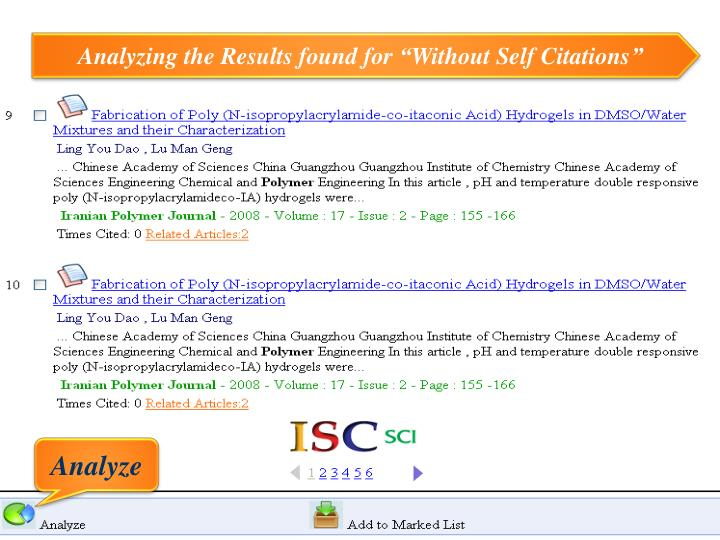 "Analyzing the Results found for ""Without Self Citations"""