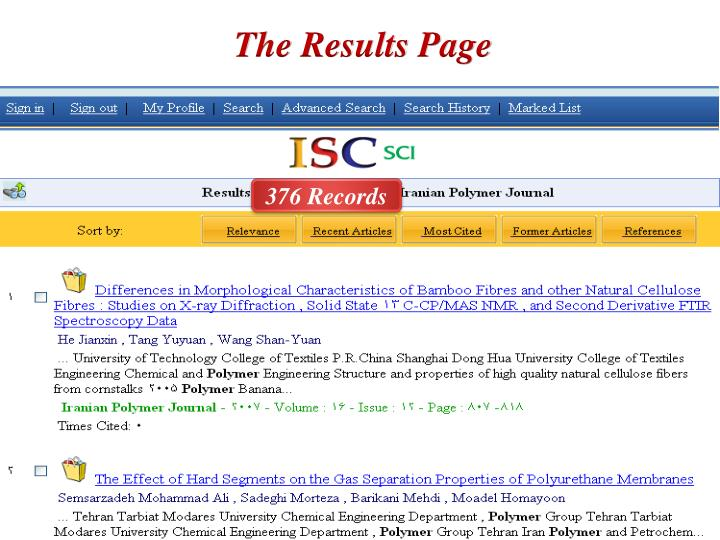 The Results Page