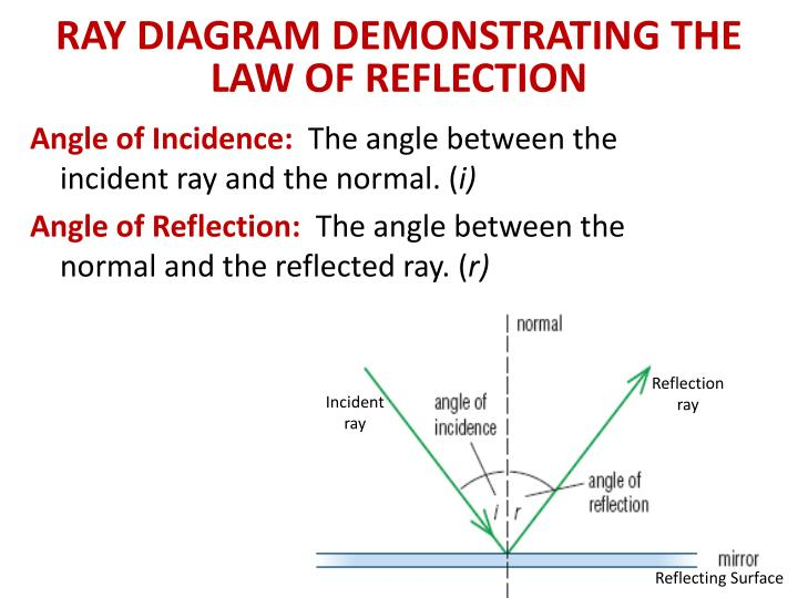 RAY DIAGRAM DEMONSTRATING THE LAW OF REFLECTION