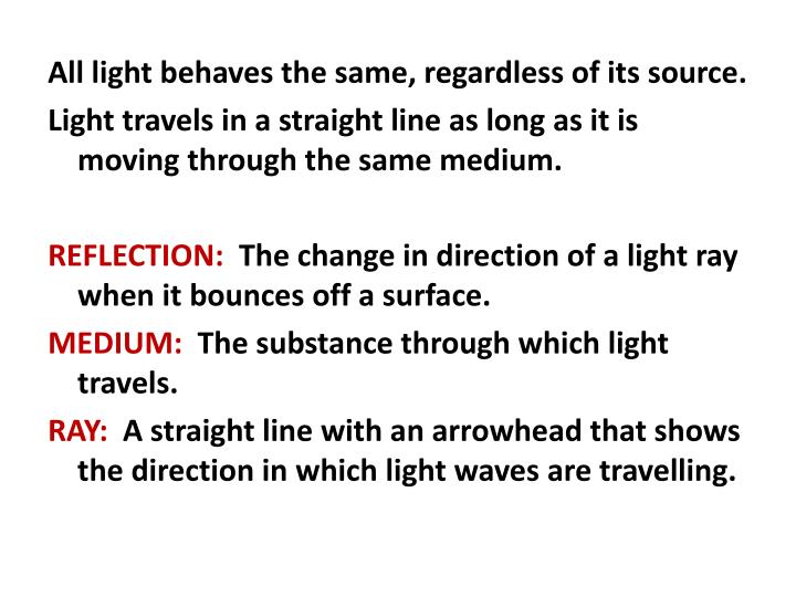 All light behaves the same, regardless of its source.
