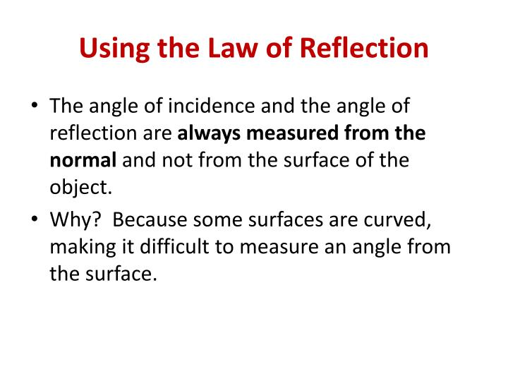 Using the Law of Reflection