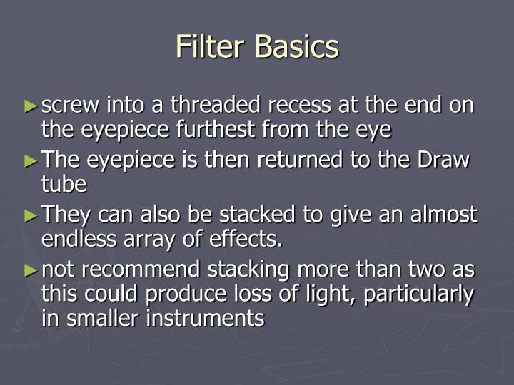 Filter Basics
