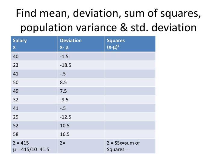 Find mean, deviation, sum of squares, population variance & std. deviation